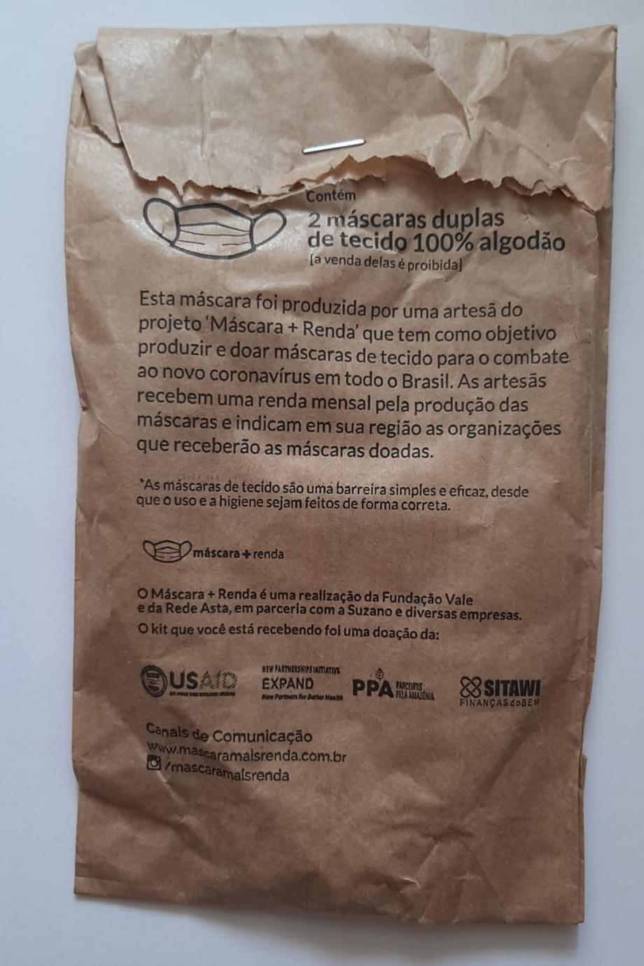 Los tapabocas que recibieron los Awa Guajá de la empresa Vale. Comunidad Awa Guajá